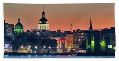 My Home Town At Night... Beach Towel
