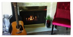 My Martin By The Fire Beach Towel