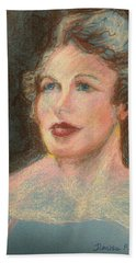 Beach Towel featuring the pastel My Mother by Denise Fulmer