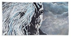 My White Dream Horse Beach Towel by AmaS Art