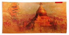 Beach Towel featuring the digital art Myanmar Temple Kutho Daw Pagoda by John Wills
