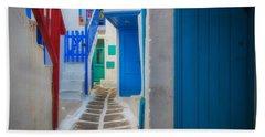 Mykonos Alley Beach Towel