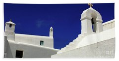Mykonos Greece Architectual Line 5 Beach Sheet by Bob Christopher