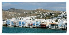 Beach Sheet featuring the photograph Mykonos Littlle Venice by Haleh Mahbod
