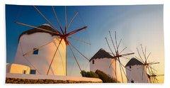 Mykonos Windmills Beach Towel