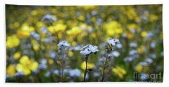 Myosotis With Yellow Flowers Beach Sheet