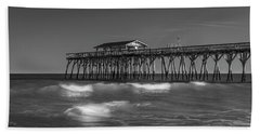 Myrtle Beach Pier Panorama In Black And White Beach Towel