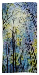 Beach Towel featuring the painting Mystic Forest by Hailey E Herrera