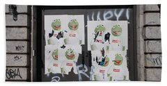 Beach Towel featuring the photograph N Y C Kermit by Rob Hans