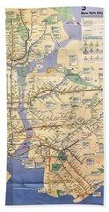 N Y C Subway Map Beach Towel
