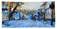 Beach Towel featuring the digital art Naantali Old Town In Winter by Kai Saarto