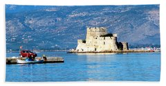 Beach Towel featuring the photograph Naflion Greece Harbor Fortress by Phyllis Kaltenbach
