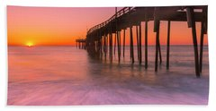 Nags Head Avon Fishing Pier At Sunrise Beach Sheet by Ranjay Mitra