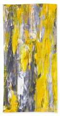 Nailed It - Grey And Yellow Abstract Art Painting Beach Towel