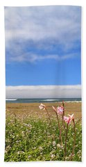 Beach Towel featuring the photograph Naked Ladies At The Beach by James Eddy
