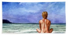 Naked Male Sleepy Ocean Beach Towel