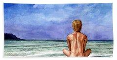 Naked Male Sleepy Ocean Beach Towel