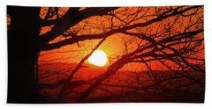 Naked Tree At Sunset, Smith Mountain Lake, Va. Beach Towel