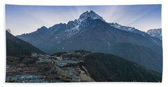 Beach Towel featuring the photograph Namche And Thamserku Peak Morning Sunrays by Mike Reid