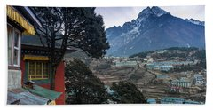 Beach Towel featuring the photograph Namche Monastery Morning Sunrays by Mike Reid
