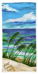 Beach Towel featuring the painting Namesinthesand-ynh by Tim GillilandNamesInTheSand