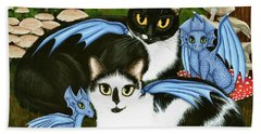 Nami And Rookia's Dragons - Tuxedo Cats Beach Towel
