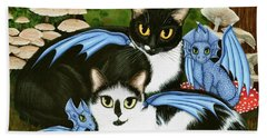 Beach Towel featuring the painting Nami And Rookia's Dragons - Tuxedo Cats by Carrie Hawks