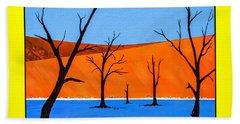 Beach Towel featuring the painting Namibia Desert Duns by Ken Frischkorn