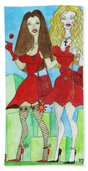 Nancy And Nicole Going Out At Night Beach Towel