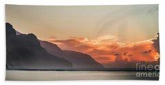 Napali Coast Kauai Hawaii Panoramic Sunset Beach Towel