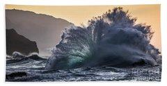 Napali Coast Kauai Wave Explosion Hawaii Beach Towel