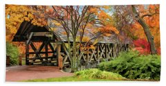 Beach Towel featuring the painting Naperville Riverwalk Covered Bridge by Christopher Arndt