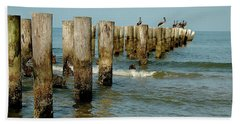 Naples Pier And Pelicans Beach Towel