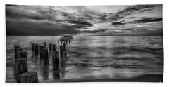 Naples Sunset In Black And White Beach Towel