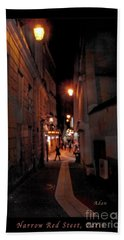 Beach Towel featuring the photograph Narrow Red Street, Paris by Felipe Adan Lerma