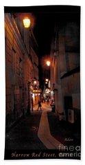 Beach Sheet featuring the photograph Narrow Red Street, Paris by Felipe Adan Lerma