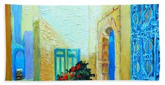 Narrow Street In Hammamet Beach Towel by Ana Maria Edulescu