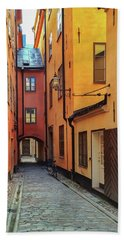 Narrow Street In The Old Center Of Stockholm Beach Towel