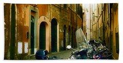 narrow streets in Rome Beach Towel