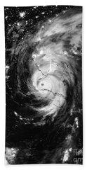 Nasa Hurricane Irma Between Cuba And Florida Satellite Image Beach Towel
