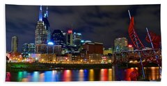 Nashville After Dark Beach Towel by Frozen in Time Fine Art Photography