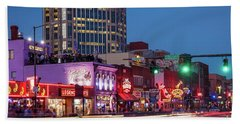 Beach Towel featuring the photograph Nashville - Broadway Street by Brian Jannsen