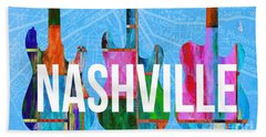 Nashville Guitars Music Scene Beach Towel