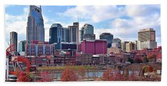 Nashville On The Riverfront Beach Sheet by Frozen in Time Fine Art Photography