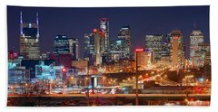 Nashville Skyline At Night 2018 Panorama Color Beach Towel