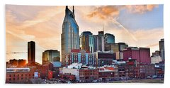 Nashville Skyline At Sunset Beach Towel