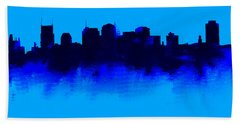Nashville  Skyline Blue  Beach Sheet by Enki Art