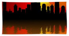 Nashville Skyline Sunset Reflection Beach Towel by Dan Sproul