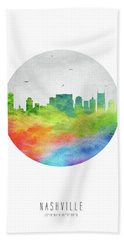 Nashville Skyline Ustnna20 Beach Towel by Aged Pixel