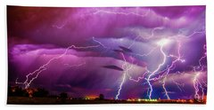 Nasty But Awesome Late Night Lightning 008 Beach Towel